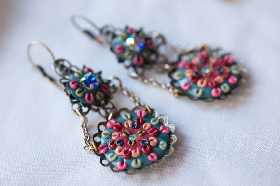 Chandelier Earrings - Intricate Polymer Clay and Swarovski Crystal Medallions Filigree, Stunning Hand Made Jewelry Turquoise Pink Blue OOAK