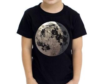 Kids Moon Shirt, Silver full moon, Full Moon Shirt, Silver Moon, Space Shirt, Moon tshirt crescent moon screen print Moon and Back, Toddler