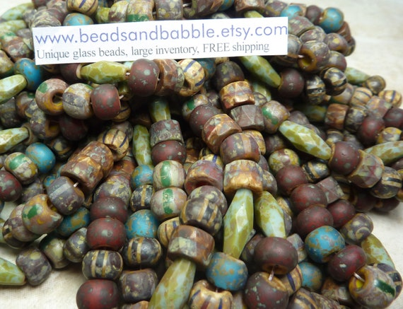 Moroccan Picasso Mix 9mm Faceted Roller Beads, 15x6mm Faceted Spaghetti Beads and 34/0 (8x6mm) Czech Glass Seed Beads 1 Strand