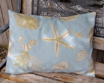 "Throw Pillow Cover, Ocean Seashells in Sky Blue Throw Pillow Cover, Outdoor Lumbar Pillow Cover, Decorative Cushion Cover, 12x16"" - LAST ONE"