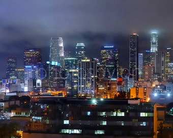 Los Angeles Skyline NIGHT Downtown Panoramic Photo Cityscape Poster