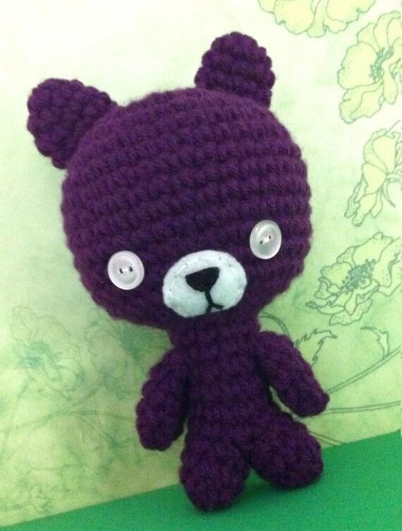 Amigurumi Mini Bear : Purple Mini Bear Amigurumi Crochet Beast Grape by MalonB