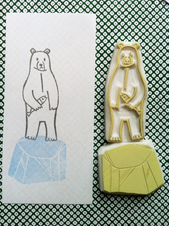 polar bear stamp set. bear and iceberg hand carved rubber stamp. arctic woodland stamp. diy birthday christmas. gift wrapping. set of 2