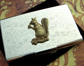 Squirrel Business Card Case Vintage Inspired Steampunk Gothic Victorian Scroll Pattern Metal Card Holder