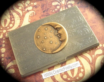Celestial Moon & Stars Brass Business Card Case Astronomical Steampunk Card Case Brass Moon Antiqued Brass Metal Case Gothic Victorian