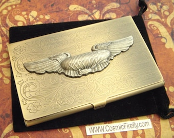 Steampunk Business Card Case Dirigible Airship Blimp Vintage Inspired Antiqued Brass Tone Metal Case Gothic Victorian Florentine Scroll