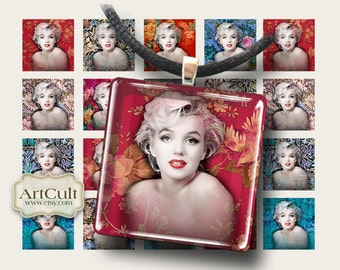 Digital Collage Sheets SWEET MARILYN 1x1 inch and 7/8x7/8 inch size images Printable download for pendants magnets bezel trays ArtCult