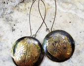 Brain Earrings Etched Brass with Patina Halloween