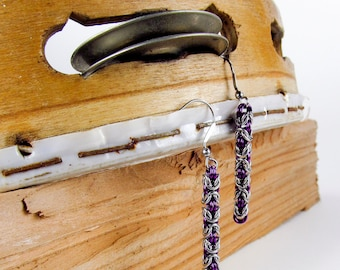 Purple Long Byzantine - Chainmaille Earrings