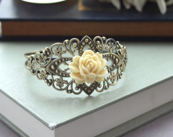 Vintage Style, Floral Filigree, Ivory Rose Flower Adjustable Cuff Bracelet. Bridesmaid Gifts. Wedding Cuff. Bridesmaids Jewelry. Nature.
