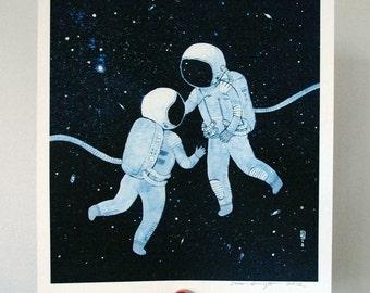 8x10 print -  fine art color print - astronauts in love