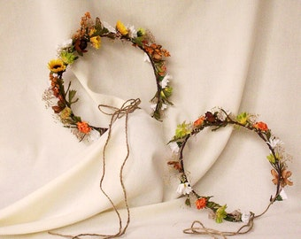Sunflower Hair Wreath dried flower crown mixed summer orange brown yellow green babys breath daisies Bridal hair wreath Wedding Accessories