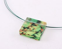 Square Blossom Pendant,  Acrylic Jewelry Green and Yellow Cherry Blossom photo image