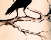 "Original Charcoal Drawing Raven on a Branch Dark Crow Drawing 6""x9,5"""