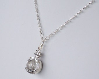 Vintage Swarovski Clear Crystals in a Silver Setting on a Silver Chain Necklace