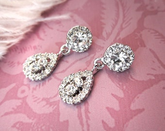 Gatsby Bridal Earrings, 1920s Bridal Rhinestone Vintage Earrings, 1920s Earrings, Wedding Earrings, Chandelier Earrings - EMMY