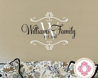 Initial and Name Family Vinyl Decal Established Date - Personalized Wall Decal Bedroom Entryway Living Decor 22h x 32w PD0035