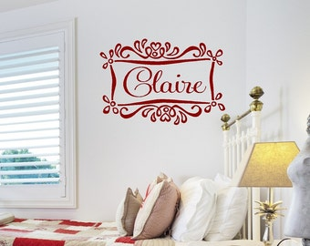 Girl Name Wall Decal with Heart Frame - Baby Nursery Girl Boy Personalized Vinyl Wall Decal with Accents 22h x32w FN0378