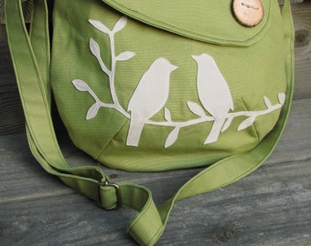 Bird Purse/ SALE LAST ONE/ Tote, Handbag, Handmade Wood Button,3 Large Pockets, one large zipper pocket