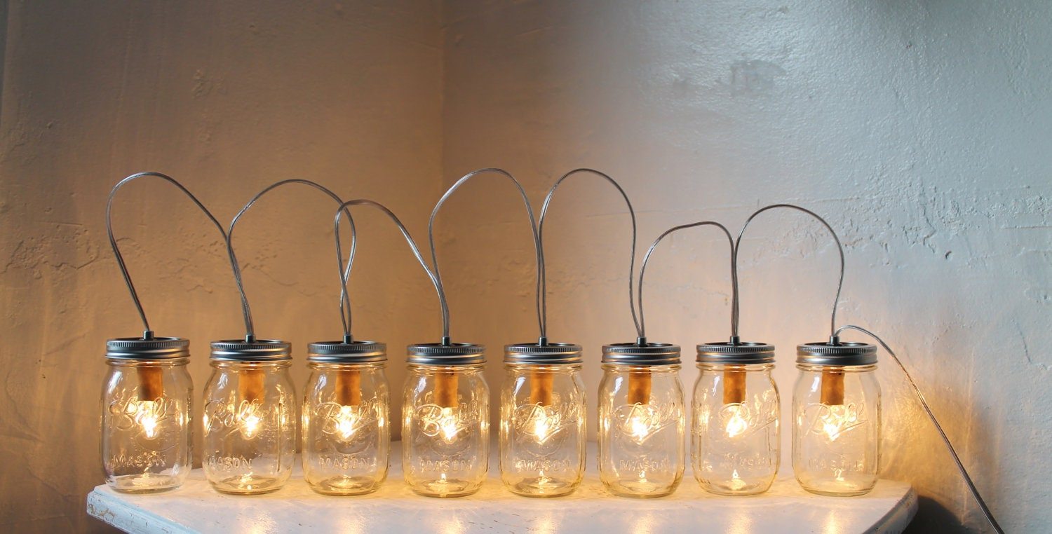 Custom Party String Lights : MASON JAR LIGHTING Upcycled Mason Jar Banner Lamp by BootsNGus
