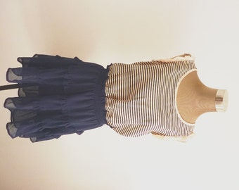 Stripes Dress with Frills / Pink and Navy Blue Dress / Tea Party / Tamed / Nautical