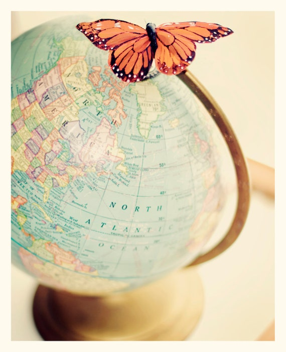 World Traveller Fine Art Print Vintage Globe Butterfly School Blue Orange Pink Classroom Home Decor Wholesale