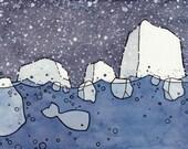 Cute Whale and Icebergs Nursery Print 5x7