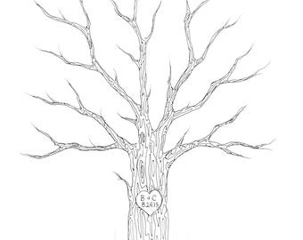 SMALL Wedding Tree Guest Book Thumbprint Tree Customizable Original Drawing BLACK or BROWN ink 11 x 14