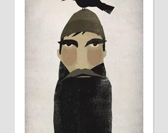 LUMBERJACK and CROW original illustration Giclee print Custom Framed 13.5 x 15.5 signed
