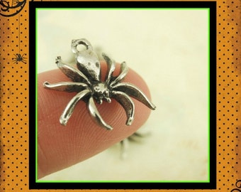 2 Spider Charms - Pewter - Focal - 16mm x 15mm - Made in the USA - Handmade Jump Rings Included - 100% Guarantee