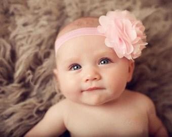 Pink Flower Headband, Baby Headband, Ballet Pink Satin and Tulle Flower Headband or Hair Clip, Newborn Infant Toddler Child Girls Headband