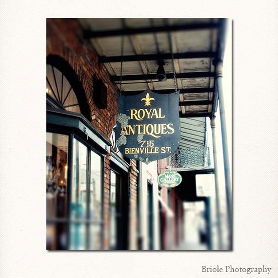 """New Orleans Photography, French Quarter """"Beinville Street"""" Antique Street Sign Picture 8x10, 11x14, 16x20, 20x24, 24,30, 24x36, 30x40 Print."""