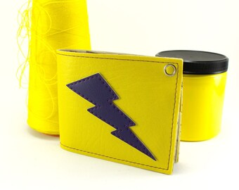 Lightning Bolt Wallet - Yellow and Purple - Vegan - TCB Dude