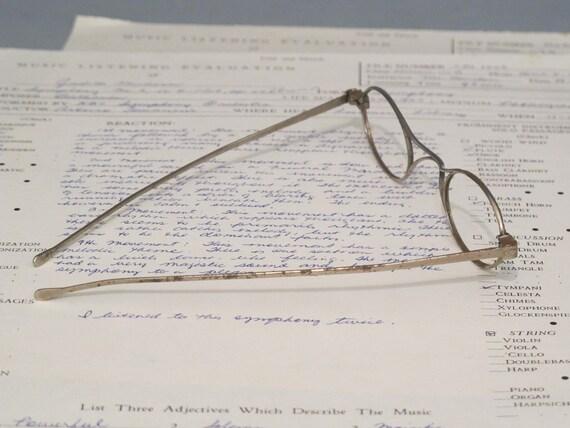 Straight Temple Glasses Frame : Vintage Eyeglasses Frame / Metal Frame Antique Straight