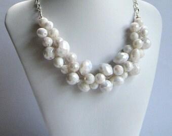 Bridal Necklace, White Chunky Necklace, Statement Necklace, Wire Crochet Necklace, White Faceted ACRYLIC, Wedding Jewelry, Etsy Weddings