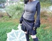 RESERVED - SALE - Dress - Pixie Dress - Short A line Dress - Fall Fashion - Bohemian - High Neckline - Low Back - Size Medium
