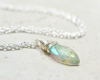 Tiny Mystic Citrine Necklace / Wire Wrapped Necklace with Citrine Stone / Citrine Jewelry / November Birthstone Jewelry, Delicate Gemstone