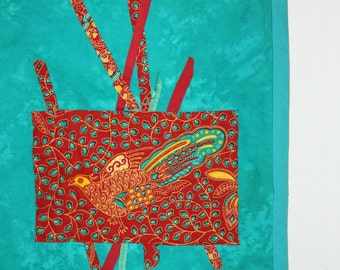 Aqua Red-Orange, Tapestry, Quilted Wall Hanging, Fiber Art Wall Hanging, Beaded Wall Decor, Jungle Bird, Modern, Bird Motif, Fabric Wall Art