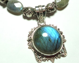 Labradorite Necklace AAA Quality Labradorite Blue Flash Pendant with Faceted Flashy Labradorite Bead Necklace with Sterling