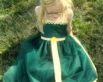 Brave Dress: lined green and gold tutu dress & satin, Merida Battle dress, princess birthday party, adjustable, princess dinner, vacation