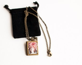 Book Locket, Art Locket, Cherry Blossom Locket, Tree Art Locket, Pink Locket, Wonderland Locket