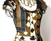 Jean Paul GAULTIER MAILLE Vintage Blouse Harlequin Pattern Knit Silk Chiffon Top - AUTHENTIC -