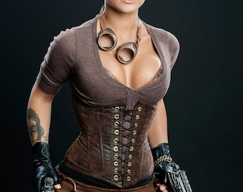 Meschantes Steampunk Vegan Leather Waist Cincher Corset - Plus Size