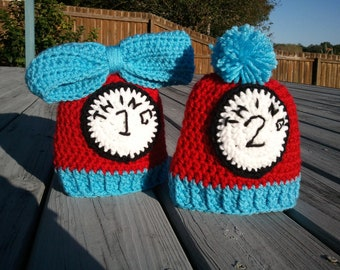Thing 1 and Thing 2 Crochet Hat Set of 2 (Sizes Newborn-12 months)