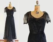 1930s dress - 30s lace gown - full length - black lace & black satin slip - medium / small