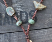 Artisan Ceramic Bird Necklace with Ceramic Beads and Peanut Seed beads with Copper Twig Clasp