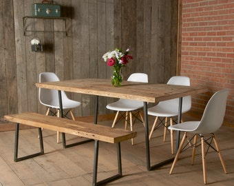 """Modern dining table with square steel base (72"""" x 36"""" x 30"""" with standard top)"""