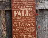 Autumn Word Art, Wood Wall Sign, Subway Art,Typography, Primitve Wall Sign, Fall