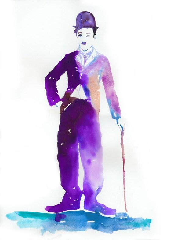 Watercolor Painting of Charlie Chaplin in Purple. titled: Purple Charlie