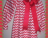 Girls Red and White Chevron Dress, perfect for Holiday season larger sizes